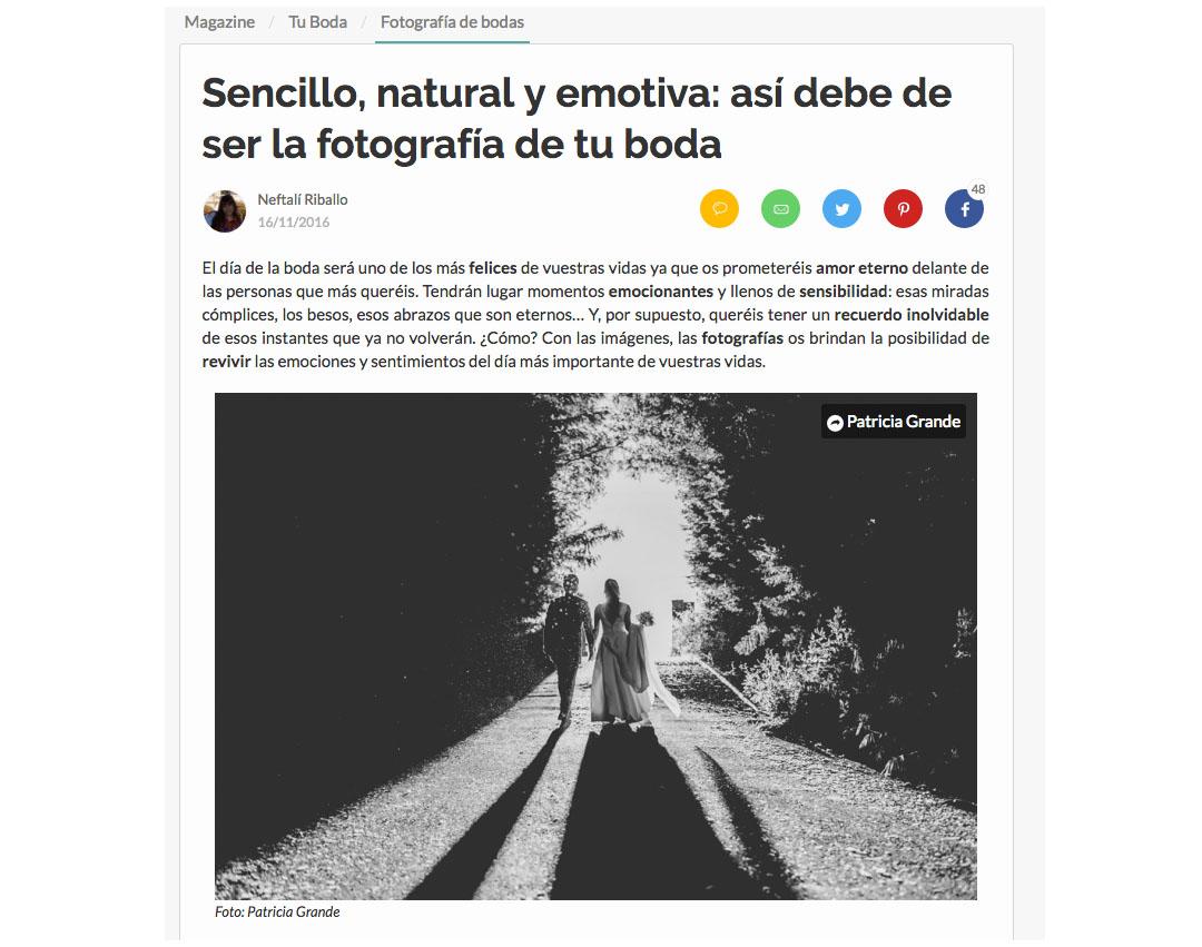 Publicaciones sobre bodas y editoriales del fotógrafo patricia grande en zankyou