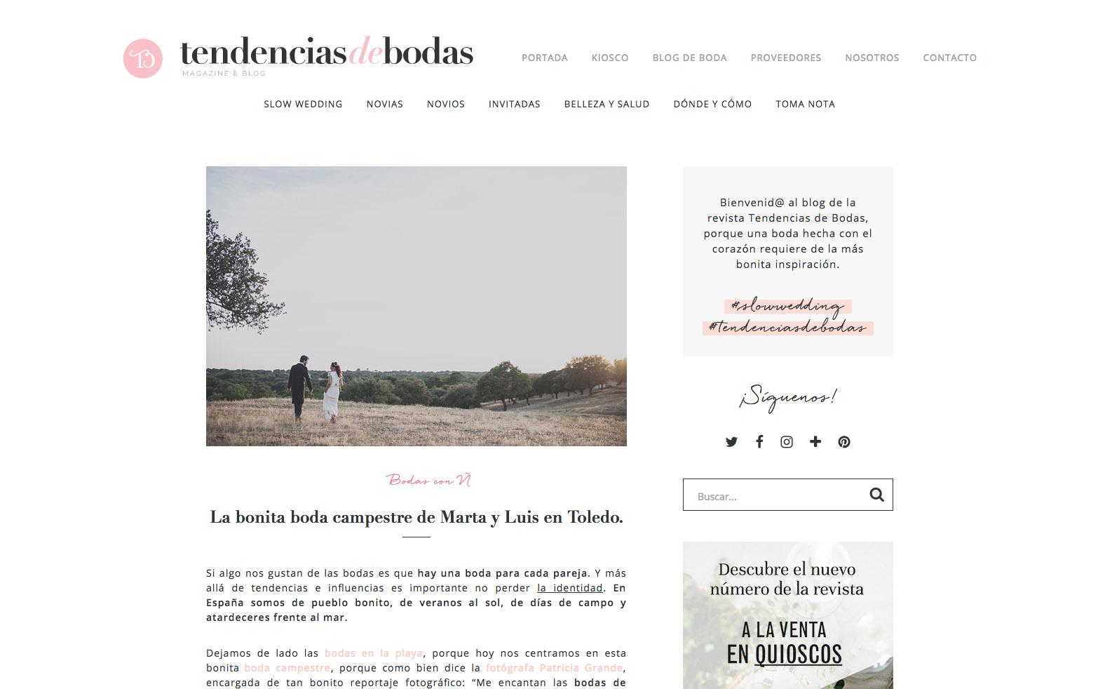Publicaciones sobre bodas y editoriales del fotografo patricia grande en el blog tendencias de bodas
