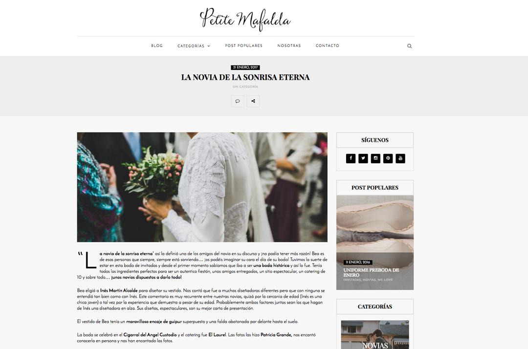 Publicaciones sobre bodas y editoriales del fotógrafo patricia grande en el blog de petite mafalda