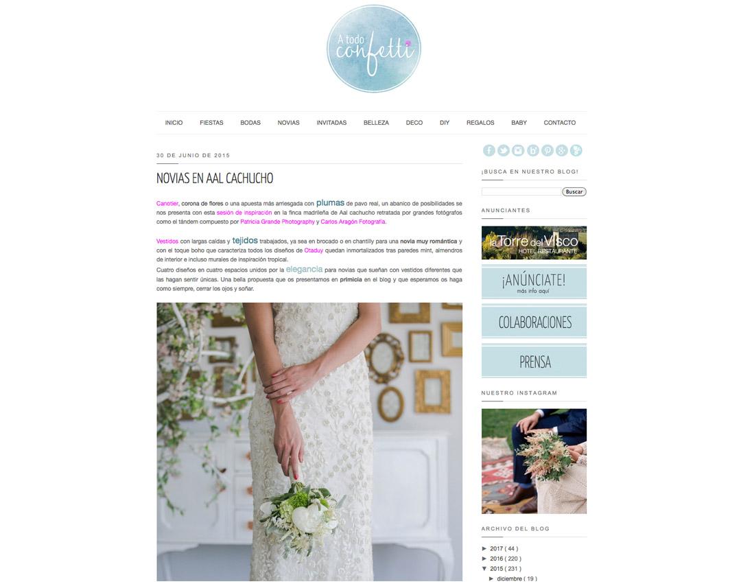 Publicaciones sobre bodas y editoriales del fotografo patricia grande en el blog de bodas a todo confetti