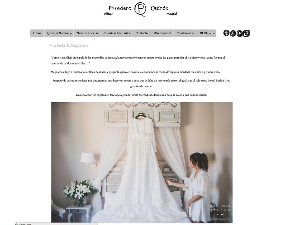 Publicaciones sobre bodas y editoriales del fotógrafo patricia grande en paredero quirós