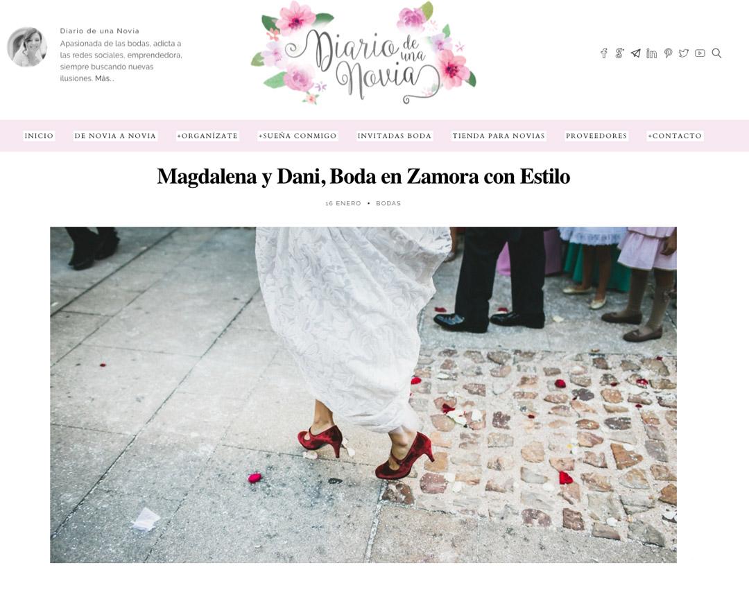 Publicaciones sobre bodas y editoriales del fotógrafo patricia grande en el blog de bodas diario de una novia